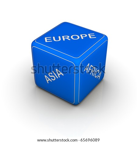 blue travel dice (select continent for vacation)
