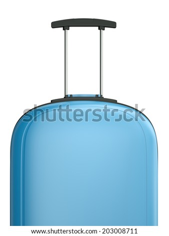 Blue travel suitcase with handle. 3D rendered illustration. - stock photo