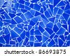 blue trencadis broken tiles mosaic from Mediterranean in Valencia Spain - stock photo
