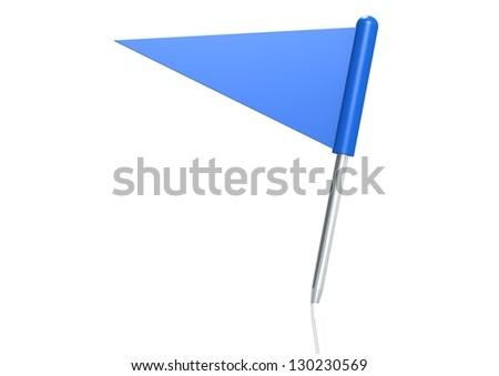 Blue triangle flag pin - stock photo