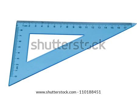blue triangle isolated on white background - stock photo