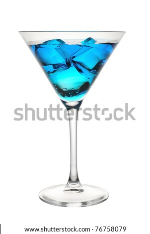 Blue tropical cocktail in glass - stock photo