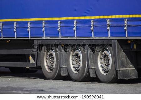 blue truck trailer - stock photo