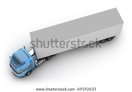Blue truck with trailer top view isolated on white. My own design - stock photo