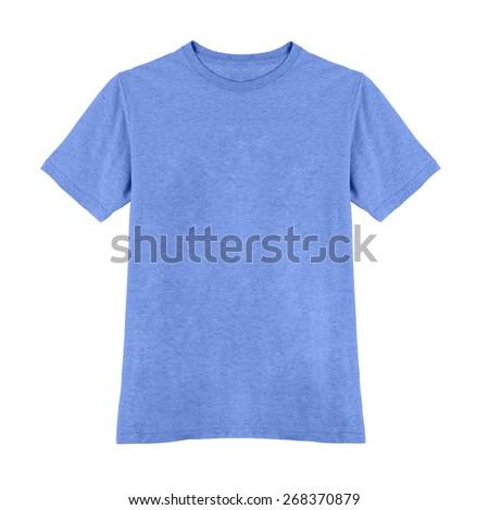 blue tshirt isolated on white - stock photo