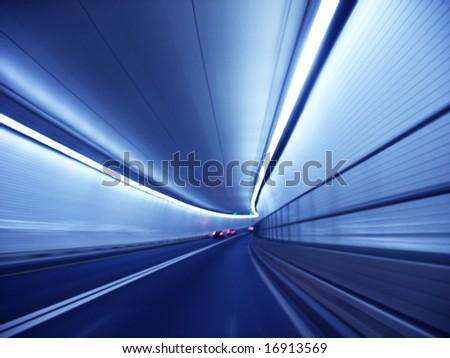 Blue tunnel - stock photo