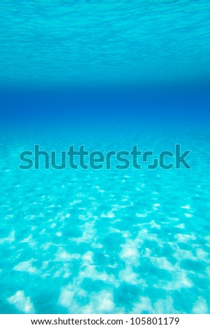 Blue turquoise underwater view of tropical beach transparent water - stock photo