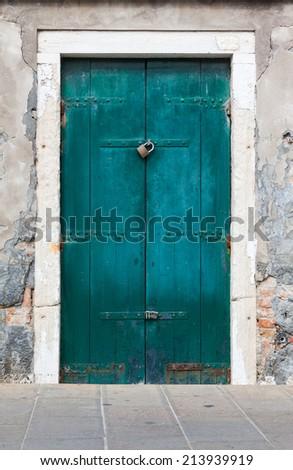 Blue Tuscan door - stock photo