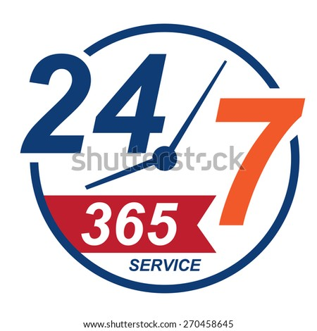 blue 24 7 365, twenty four seven, round the clock service sticker, icon, label, banner, sign isolated on white  - stock photo