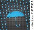 blue umbrella and rain drops on the metallic background - stock photo