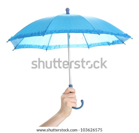 Blue umbrella in hand isolated on white - stock photo
