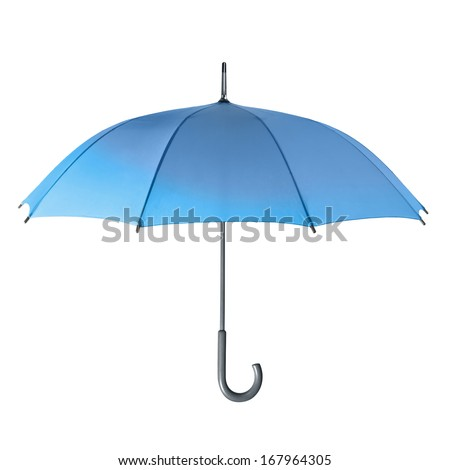 Blue umbrella isolated on a white background - stock photo