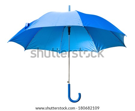 blue umbrella isolated on white background - stock photo