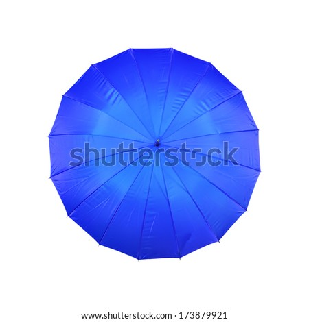 blue umbrella on a white background - stock photo
