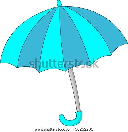blue umbrella on white - stock photo