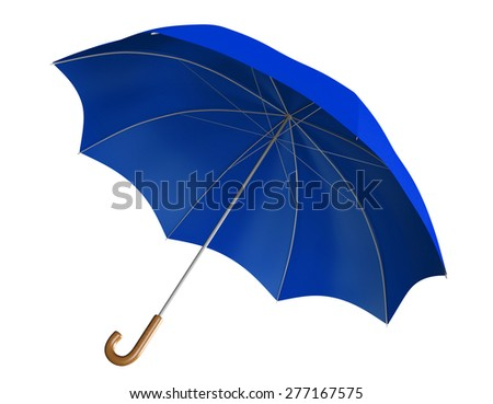 Blue umbrella or parasol with classic curved handle - stock photo