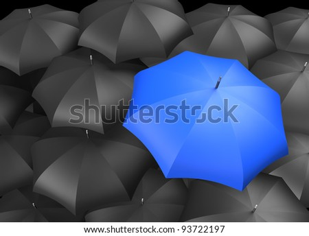 Blue umbrella standing out from background of black umbrellas