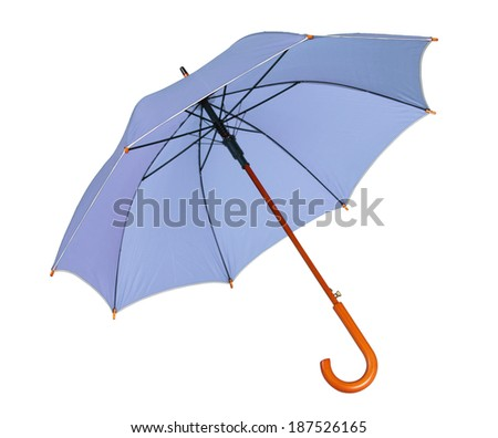 Blue umbrella / studio photo of opened umbrella - isolated on white background  - stock photo