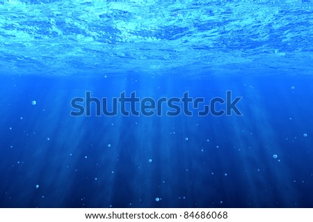Blue underwater background with bubbles - stock photo
