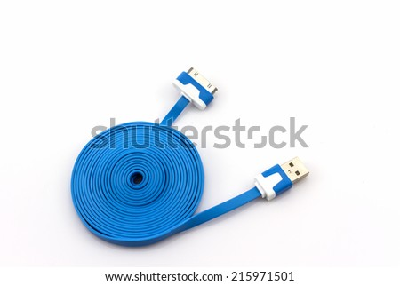 Blue USB cable for smartphone on white background - stock photo