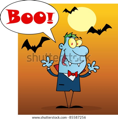Blue Vampire Yelling Boo And Holding Up His Arms - stock photo