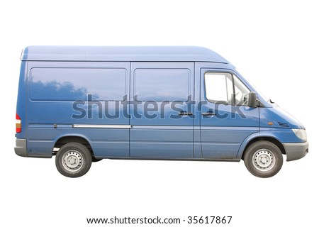 Blue van under the white background - stock photo