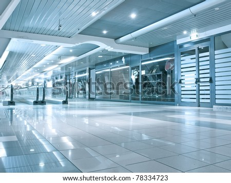 blue vanishing transparent hallway - stock photo