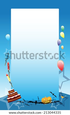Blue vector Party background with baloons, cake and other party symbols - stock photo