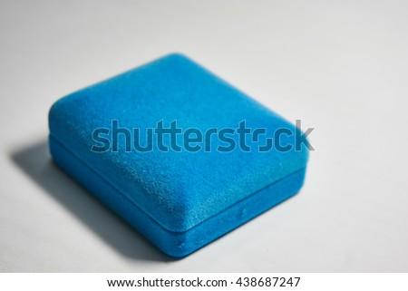 Blue Velvet Jewelry Box Close Picture Stock Photo 438687247