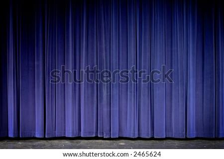 Blue velvet theater curtain - stock photo