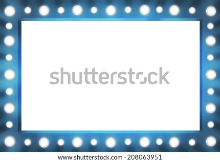 Blue version Vanity Mirror Frame with Lightbulbs template - stock photo