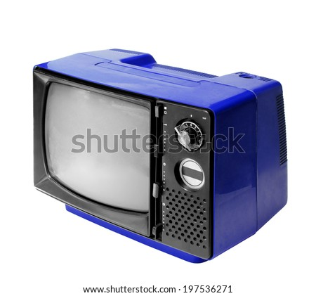 Blue vintage analog television isolated over white background, clipping path. - stock photo