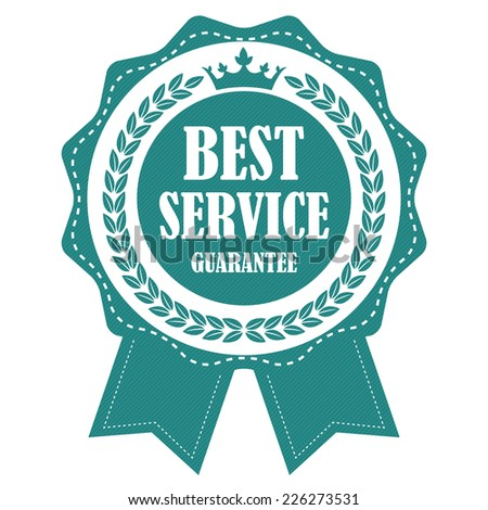 Blue Vintage Best Service Guarantee Ribbon, Icon, Label or Sticker Isolated on White Background  - stock photo