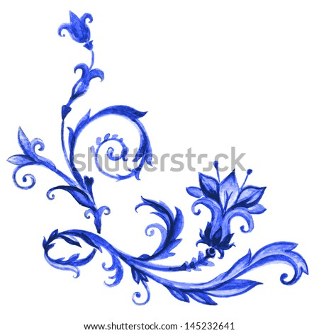 blue vintage flower and leaves, watercolor design element isolated on white background