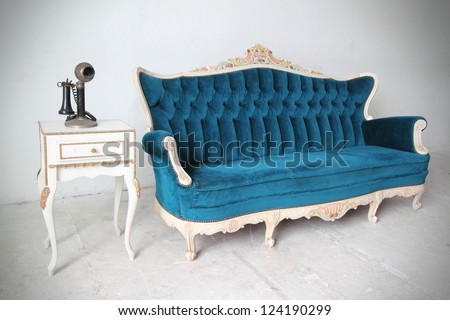 Blue vintage luxury armchair - stock photo