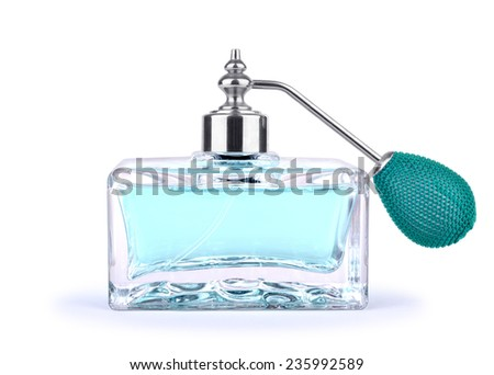 Blue vintage perfume bottle with atomizer isolated on white background. - stock photo