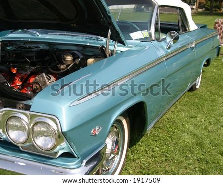 Blue Vintage Retro Car - stock photo