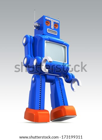 Blue vintage toy robot with clipping path - stock photo