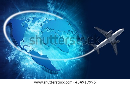 Blue vivid image of globe and airplane. Internet Concept of global business - stock photo