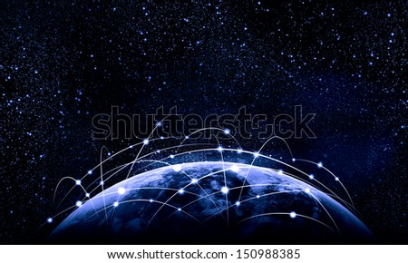 Blue vivid image of globe. Globalization concept. Elements of this image are furnished by NASA - stock photo