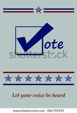 Blue Vote Icon - Let Your Voice Be Heard - Illustration - stock photo