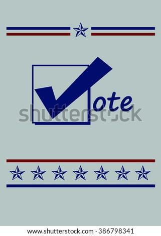 Blue Vote Icon - Simple Design - Illustration - stock photo