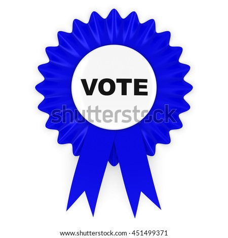 Blue Vote Rosette Badge 3D Illustration - stock photo