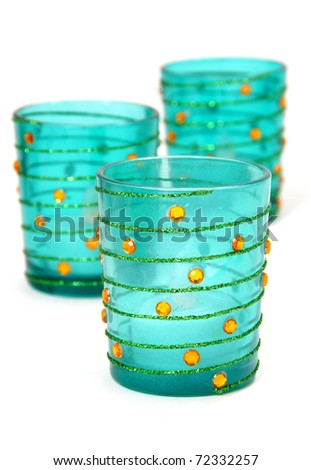 Blue votive candleholders - stock photo