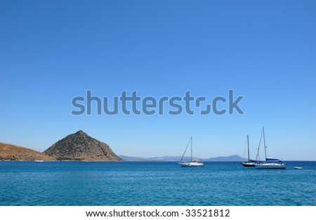 Blue Voyage In Aegean Sea - stock photo