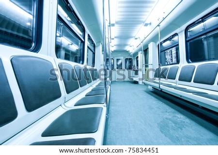 blue wagon inside - stock photo