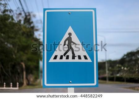 Blue Walk sign - stock photo