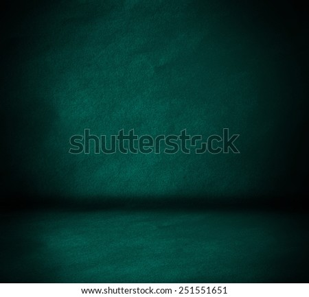 blue wall and floor interior background - stock photo