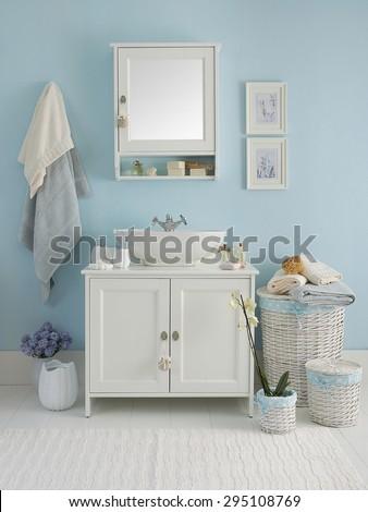 blue wall  clear bathroom style  - stock photo