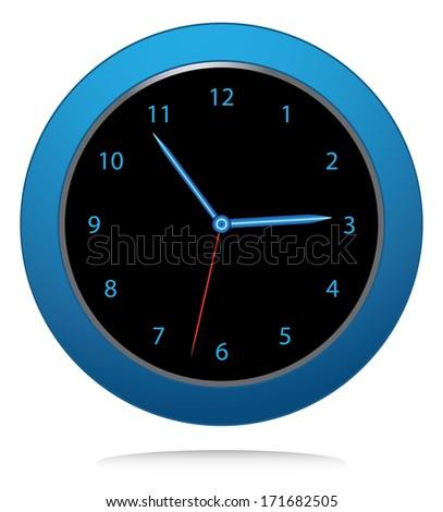 Blue wall clock illustration, raster version. Creative time icon design. - stock photo